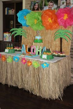 Party table at a  Hawaiian luau birthday party! See more party ideas at http://CatchMyParty.com!
