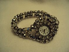 Silver Swarovski Bead Watch by Eunise on Etsy, $11.37