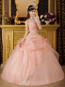 Beading and Pick ups Accent Quinceanera Dresses in Peach Color