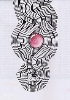 Photo: Zentangling. Материалы: гелевая ручка, цветные карандаши.
