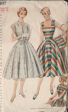 Vintage 1950's Misses' Sun Dress And Redingote Pattern, Deep Square Neckline, Simplicity 3897. $15.00, via Etsy.