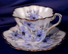 Rosina Blue Flowers cup & saucer. Click the image for more information.