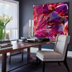 Purple geode stone wall art painting large geode wall decor | Etsy