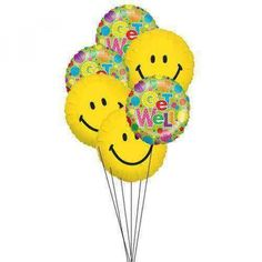 Make a cheerful face for someone to see them well. Send them the get well wishes and a big smile to recover from illness. Half a dozen of mylar balloons to say Get well with Smiley.