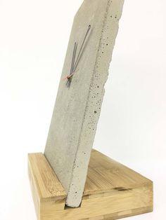 concrete and wood desk clock