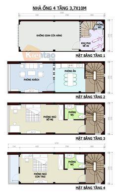 Thiết kế kiến trúc, Nhà ống 4 tầng 3,7x10m, Cách phân bổ công năng nhà ống 4 tầng, nhà đẹp