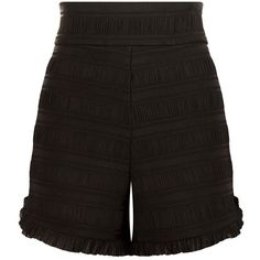 Maje Ingrid High Waist Shorts ($190) ❤ liked on Polyvore featuring shorts, striped shorts, ruched shorts, stripe shorts, maje and satin shorts