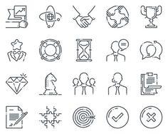 Business icon set - Natural line. Premium Icons. $8.00