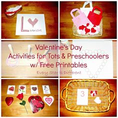 Valentine's Day learning activities and free printables for tots and preschoolers.