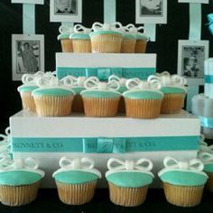 Tiffany & Co. Theme baby shower. Love the bow on top. We also used personalized Bennett & Co. Ribbon around the display boxes.