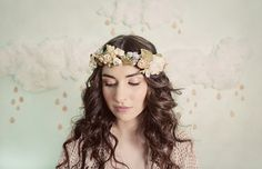 Tiny blossoms flower crown in blue, yellow and beige, style 306 on Etsy, $190.00