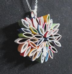 Cool pendant made from recycled magazine pages...