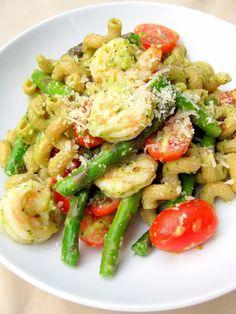 Pasta with Pesto, Shrimp, and Asparagus -- Good! Had never made pesto before, super easy :)
