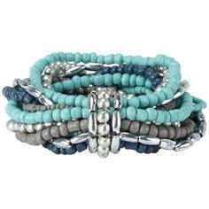 Turquoise multi strand beaded bracelet