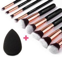CHIC REPUBLIC 10 Piece Kabuki Contouring Makeup Brush Set with Beauty Sponge Blender, Rose Gold *** For more information, visit now : Makeup brushes