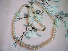 Vintage 1930s Art Deco Crystal Bead Necklace Wedding Jewelry