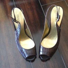 Guess Heels Great pair of heels! Faux alligator material. Slingback style. Guess Shoes Heels