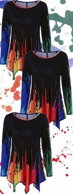 Splatter Paint Handkerchief Tunic T-Shirt