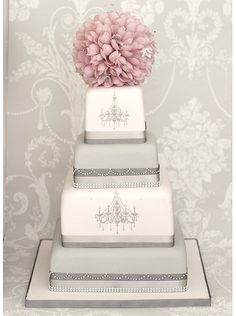 Another amazing cake by The Liggy's Cake Company.  Love the pink flower topiary on top.  ᘡղbᘠ