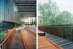 """""""After the demolition of """"la Lira"""" theater in Ripoll, an urban void appears facing Ter river, on the city walls, from a street in the old town. This void Space Frame, Pedestrian Bridge, Famous Architects, Over The River, Corten Steel, Building Facade, Pavement, Old Town, Deck"""