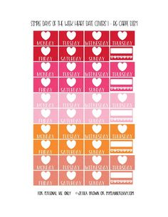 Free Printable Simple Days of the Week Heart Date Covers for the Reset Girl Carpe Diem Inserts Page 1 of 7 from myplannerenvy.com. Also available with a Circle instead of a Heart.