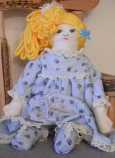 Handmade Cloth Doll Rag Doll Fabric Doll Blue Doll by Codysquilts on Etsy