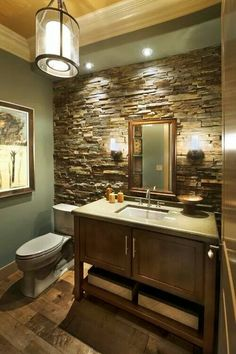 Awesome bathroom, do you like the stone wall?