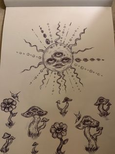 Indie Drawings, Psychedelic Drawings, Cool Art Drawings, Art Drawings Sketches, Trippy Drawings, Arte Grunge, Hippie Painting, Arte Sketchbook, Art Diary
