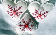 This set for those who want to decorate for the season with a comfortable country touch. This little ornaments are hand cut, hand stiched and embellished with snow flake embroidery on the front and red button.The back of the ornament is plain white, with no decor on it. Each heart has