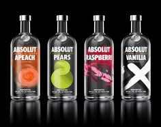 Packaging with handcrafted illustrative detail for premium Swedish flavoured vodka range from Absolut designed by The Brand Union