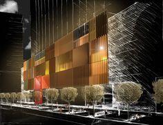 sketch facade Shopping mall, Chengdu. China. ARCABI ASSOCIATES