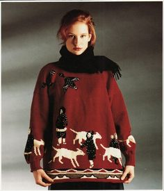 Inuit Gathering sweater from Patternfish.  Not the kind of thing I would wear (or make) but I love the movement of the dogs.