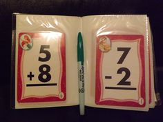 A Brag Book (Photo Book) I got this one at the Dollar Tree.  Some flash cards also from the Dollar Tree.  Also Vis-A-Vis wet erase markers and a small package of wet wipes, one can do math facts just about anywhere!!  This one I chose to mix addition and subtraction so my Granddaughter will learn to watch signs.  She also has a book of subtraction only and addition only.  She likes doing this in the car. Multiplication Cards can be used for older kids. Dry erase and a sock will work too.