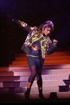 Madonna in the psychedelic paisley retro fashion moment that many, including Prince, latched onto in the mid ' 80s. Description from pinterest.com. I searched for this on bing.com/images