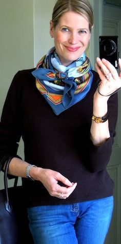 Hermes Cuird de desert scarf, how to tie a scarf into a cowboy knot, Capsule wardrobe, MaiTai's picture book and blog, horn scarf rings