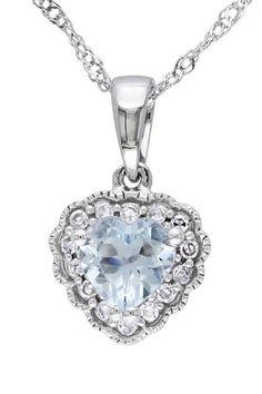 14K White Gold Pave Diamond & Aquamarine Heart Pendant Necklace