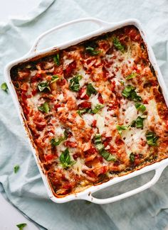 Fresh spinach artichoke lasagna with the simplest homemade red sauce