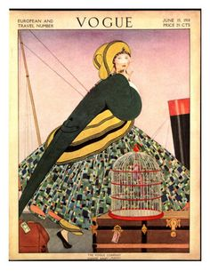 Vogue Cover - June 1914    illustration of woman in front of ships in plaid skirt with green bird tail-like jacket , walking near luggage and bird cage for EUROPEAN TRAVEL NUMBER.