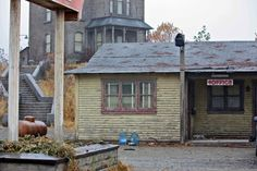 Can you see Mother in her rocking chair? Norman could. This is a movie set being built in our town to film a prequel to the 1960 Alfred Hitchock movie, Psycho. Very authentic looking but totally fake Bates Motel!