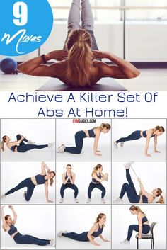 Most of us can admit that tummy fat can be the hardest to lose. While maintaining a slim waistline and abs can be achieved through clean eating, it's also important that proper ab exercises are incorporated into your daily routine. Thanks to at-home ab workouts, you'll be your on your way towards rock hard abs while saving money! This routine pulls from strength training moves and Pilates to create a killer ab workout you can do at home, and you won't need a single piece of equipment. 5 Minute Abs Workout, Easy Ab Workout, Workout Warm Up, Ab Workout At Home, Hip Workout, Easy Workouts, Quick Abs, Easy Abs, Killer Ab Workouts