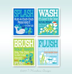 "Childrens Kids Bathroom Art Prints Set of (4) 8"" x 10"" Pottery Barn Kids Colors - Blue Lime Orange -Modern Kids Bathroom"