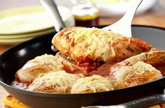 Easy Chicken Parmesan  In less than 30 minutes and with only one pan you can make this delicious chicken recipe the whole family will love! Chicken Parmesan is a classic home-style favorite of chicken breasts cooked in tomato sauce then topped with Parmesan and mozzarella chees