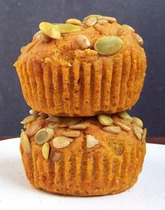 Vegan & gluten free pumpkin muffins.  Using no xanthan gum!  It's getting to be the perfect time of year to try these.