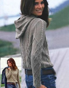 Jersey con capucha en color camel - cabled hooded sweater FREE knitting pattern in Spanish (hva) Cable Knitting, Knitting Yarn, Hand Knitting, Knitwear Fashion, Knit Fashion, Fall Fashion, Hooded Sweater, Knit Cardigan, Clothing Patterns