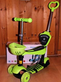 самокат детский 3 х колесный scooter 5 in1  салатовый