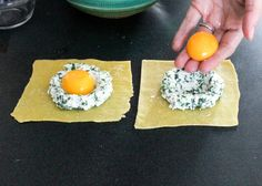 Giant Ravioli with Spinach, Ricotta, and Egg Yolk