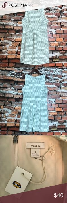 """NEW Fossil Cream Dusty Blue Check Tracy Dress S NEW Fossil Cream Dusty Blue Teal Checkered Empire Waist Sleeveless A Line Tracy Dress Small *New With Tags, Retails $128 Measurements: 32"""" Bust 30"""" Waist 34"""" Length Fossil Dresses"""