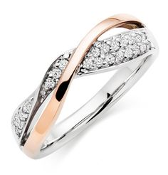 Beaverbrooks Era Entwine 9ct Two Colour Diamond Ring