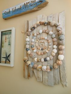 Your place to buy and sell all things handmade Beautiful natural Sharks Eye shell pieces arranged on Seashell Art, Seashell Crafts, Beach Crafts, Seashell Wind Chimes, Beach Themed Crafts, Driftwood Wall Art, Driftwood Crafts, Shell Display, Seashell Projects
