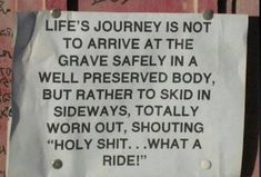 Lifes journey is not to arrive at the grave safely - http://jokideo.com/lifes-journey-is-not-to-arrive-at-the-grave-safely/